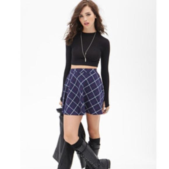 b5e444be700ae0 Forever 21 Skirts | F21 Plaid Skater Skirt | Poshmark